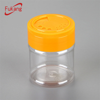 70cc clear small plastic bottle for salt / round PET jar with twist cap / spice powder bottle with toothpick lid