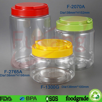 2700ml large straight round plastic protein powder container storage & clear pet food jar