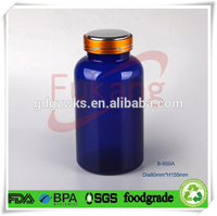 650ml Blue Ayurvedic Herbal Supplement medicine bottles plastic