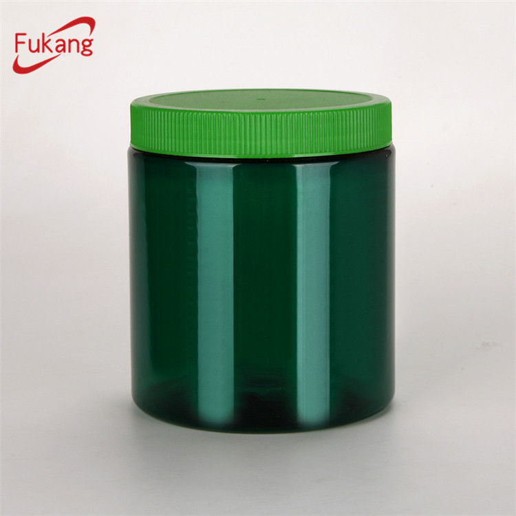 20oz Food Grade Pet Jar Screw Lid , Amber Plastic Container 650ml