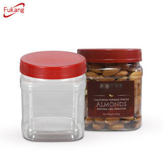 20oz Square Pet jar for Nuts Packaging, Food Grade 600ml plastic bottle