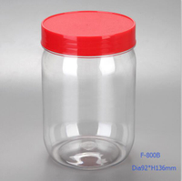 Empty clear PET plastic jar with lid for packing roasted and salted peanuts, 800ml plastic canister