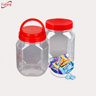 1 liter clear plastic pickle containers, square airless plastic snack jars, large plastic food packaging wholesale China